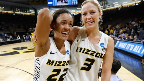 <p>               Missouri guard Jordan Roundtree, left, walks off the court with teammate Sophie Cunningham after a first round women's college basketball game against Drake in the NCAA Tournament, Friday, March 22, 2019, in Iowa City, Iowa. (AP Photo/Charlie Neibergall)             </p>