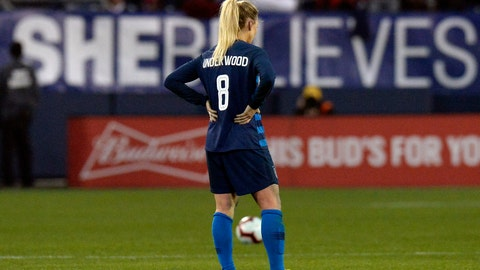 <p>               U.S. midfielder Julie Ertz stands on the pitch after the team's 2-2 draw against England in a SheBelieves Cup women's soccer match Saturday, March 2, 2019, in Nashville, Tenn. Ertz honors Carrie Underwood by wearing her name on the back of her jersey. (AP Photo/Mark Zaleski)             </p>