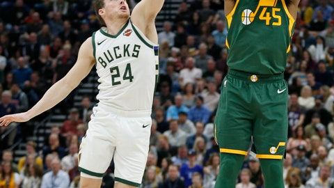 <p>               Utah Jazz guard Donovan Mitchell (45) shoots as Milwaukee Bucks guard Pat Connaughton (24) defends during the first half of an NBA basketball game Saturday, March 2, 2019, in Salt Lake City. (AP Photo/Rick Bowmer)             </p>