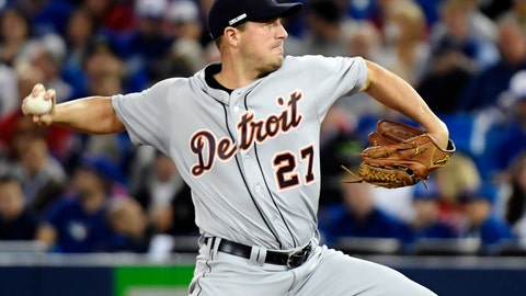<p>               Detroit Tigers starting pitcher Jordan Zimmermann works against the Toronto Blue Jays during the first inning of a baseball in Toronto on Thursday, March 28, 2019. (Nathan Denette/The Canadian Press via AP)             </p>