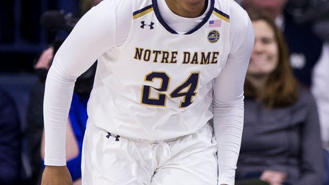<p>               FILE- In this Feb. 21, 2019, file photo Notre Dame's Arike Ogunbowale runs downcourt after making a 3-pointer during an NCAA college basketball game against Duke in South Bend, Ind. The heroine of Notre Dame's national championship run last year, who won both Final Four and title games with dramatic, last-second shots, is ready for her last ride through the bracket, starting Saturday when the Fighting Irish takes on Bethune-Cookman in the first round. (AP Photo/Robert Franklin, File)             </p>