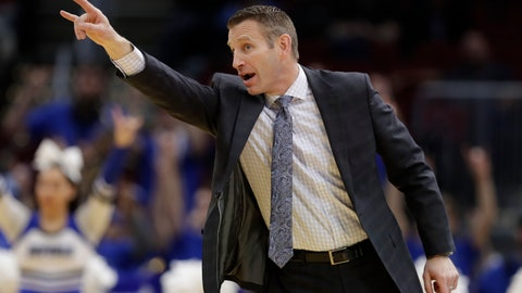 <p>               Buffalo head coach Nate Oats yells instruction to players during the first half of an NCAA college basketball game against Akron at the Mid-American Conference tournament, Thursday, March 14, 2019, in Cleveland. Buffalo won 82-46. (AP Photo/Tony Dejak)             </p>