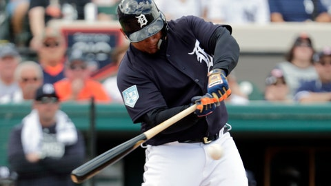 <p>               Detroit Tigers' Miguel Cabrera hits a double in the first inning during a spring training baseball game against the New York Yankees, Wednesday, Feb. 27, 2019, in Lakeland, Fla. (AP Photo/Lynne Sladky)             </p>
