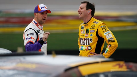 <p>               Denny Hamlin, left, and Kyle Busch talk in pit lane before qualifying for the NASCAR Cup Series auto race at Las Vegas Motor Speedway, Friday, March 1, 2019, in Las Vegas. (AP Photo/John Locher)             </p>