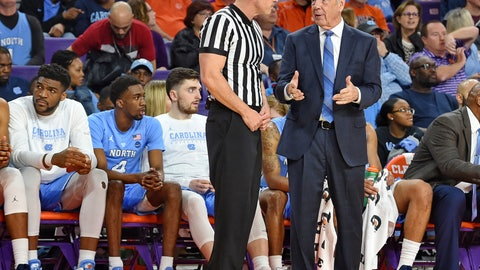 <p>               North Carolina coach Roy Williams discusses a call with an official during the first half of the team's NCAA college basketball game against Clemson on Saturday, March 2, 2019, in Clemson, S.C. (AP Photo/Richard Shiro)             </p>