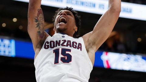 <p>               Gonzaga forward Brandon Clarke (15) dunks against Fairleigh Dickinson during the first half of a first-round game in the NCAA men's college basketball tournament Thursday, March 21, 2019, in Salt Lake City. (AP Photo/Jeff Swinger)             </p>