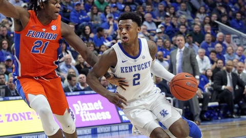 <p>               Kentucky's Ashton Hagans (2) drives while defended by Florida's Dontay Bassett (21) during the first half of an NCAA college basketball game in Lexington, Ky., Saturday, March 9, 2019. (AP Photo/James Crisp)             </p>