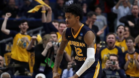 <p>               Fans cheer as Murray State's Ja Morant (12) celebrates a basket during the second half of a first round men's college basketball game against Marquette in the NCAA Tournament, Thursday, March 21, 2019, in Hartford, Conn. (AP Photo/Elise Amendola)             </p>