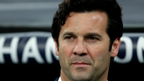 Real coach Santiago Solari arrives at the pitch ahead of the Champions League soccer match between Real Madrid and Ajax at the Santiago Bernabeu stadium in Madrid Spain Tuesday