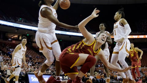 <p>               Iowa State guard Bridget Carleton, front center, reacts after she was fouled by Texas guard Joyner Holmes, left, during the second half of an NCAA college basketball game Saturday, March 2, 2019, in Austin, Texas. (AP Photo/Eric Gay)             </p>