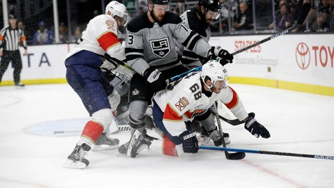 <p>               Florida Panthers' Mike Hoffman (68) collides with Los Angeles Kings' Kyle Clifford (13) during the third period of an NHL hockey game Saturday, March 16, 2019, in Los Angeles. (AP Photo/Marcio Jose Sanchez)             </p>