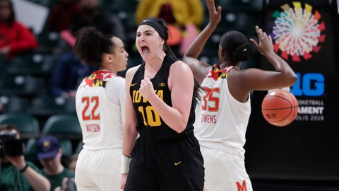 <p>               Iowa forward Megan Gustafson (10) celebrates after being fouled by Maryland players in the first half of an NCAA college basketball championship game at the Big Ten Conference women's tournament in Indianapolis, Sunday, March 10, 2019. (AP Photo/Michael Conroy)             </p>