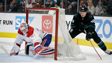 <p>               San Jose Sharks' Tomas Hertl, right, moves the puck behind Montreal Canadiens goalie Antti Niemi during the first period of an NHL hockey game Thursday, March 7, 2019, in San Jose, Calif. (AP Photo/Ben Margot)             </p>
