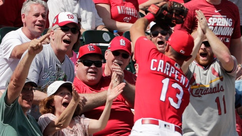 <p>               Fans react to St. Louis Cardinals third baseman Matt Carpenter (13) catching a fly ball headed for the stands in the fifth inning during an exhibition spring training baseball game against the Washington Nationals on Monday, March 11, 2019, in Jupiter, Fla. (AP Photo/Brynn Anderson)             </p>