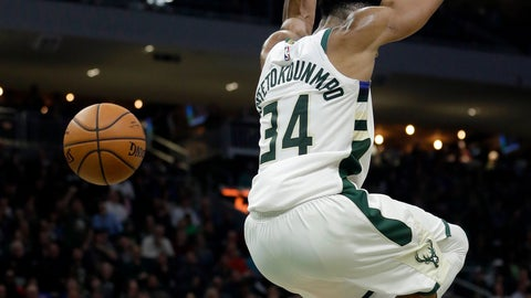 <p>               Milwaukee Bucks' Giannis Antetokounmpo dunks during the second half of an NBA basketball game against the Los Angeles Clippers, Thursday, March 28, 2019, in Milwaukee. (AP Photo/Aaron Gash)             </p>