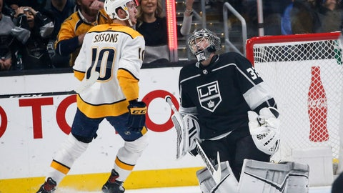 <p>               Nashville Predators forward Colton Sissons (10) celebrates after scoring on Los Angeles Kings goalie Jonathan Quick (32) during the second period of an NHL hockey game Thursday, March 14, 2019, in Los Angeles. (AP Photo/Ringo H.W. Chiu)             </p>