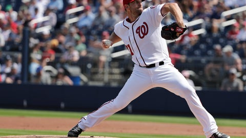 <p>               Washington Nationals starting pitcher Max Scherzer (31) throws in the first inning of an exhibition spring training baseball game against the Boston Red Sox, Tuesday, March 5, 2019, in West Palm Beach. (AP Photo/Brynn Anderson)             </p>