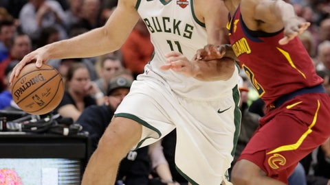 <p>               Milwaukee Bucks' Brook Lopez (11) drives past Cleveland Cavaliers' Collin Sexton (2) during the first half of an NBA basketball game Wednesday, March 20, 2019, in Cleveland. (AP Photo/Tony Dejak)             </p>