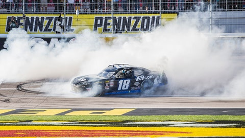 <p>               Kyle Busch celebrates with a burnout after winning the NASCAR Xfinity Series auto race Saturday, March 2, 2019, at Las Vegas Motor Speedway in Las Vegas. (Benjamin Hager/Las Vegas Review-Journal via AP)             </p>