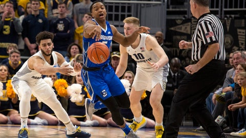 <p>               Creighton Ty-Shon Alexander, center, steals the ball from Marquette guard Markus Howard, left, during the second half of an NCAA college basketball game Sunday, March 3, 2019, in Milwaukee. (AP Photo/Darren Hauck)             </p>