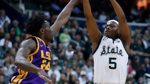 <p>               Michigan State guard Cassius Winston shoots over LSU forward Emmitt Williams (24) during the first half of an East Regional semifinal in the NCAA men's college basketball tournament Friday, March 29, 2019, in Washington.(AP Photo/Alex Brandon)             </p>