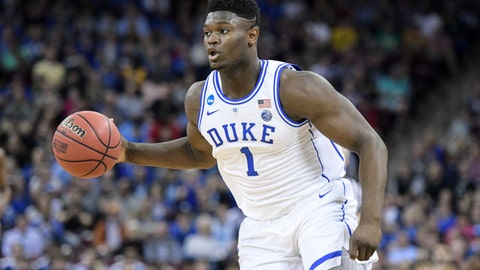 <p>               Duke forward Zion Williamson (1) dribbles the ball against Central Florida during the first half of a second-round game in the NCAA men's college basketball tournament Sunday, March 24, 2019, in Columbia, S.C. (AP Photo/Sean Rayford)             </p>