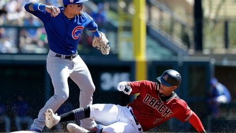 <p>               Chicago Cubs shortstop Javier Baez, left, throws to first base after forcing out Arizona Diamondbacks' Ketel Marte at second base in the first inning of a spring training baseball game Saturday, March 16, 2019, in Scottsdale, Ariz. Baez completed the double play on Diamondbacks' Carson Kelly at first. (AP Photo/Elaine Thompson)             </p>