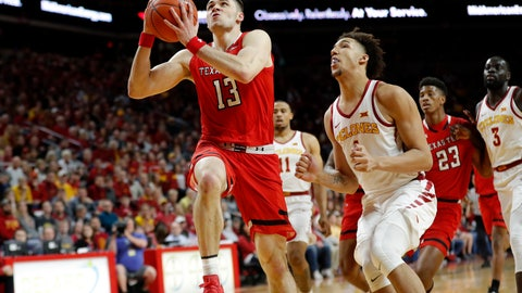 <p>               Texas Tech guard Matt Mooney (13) drives to the basket ahead of Iowa State forward George Conditt IV during the first half of an NCAA college basketball game, Saturday, March 9, 2019, in Ames, Iowa. (AP Photo/Charlie Neibergall)             </p>
