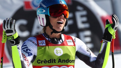 <p>               United States' Mikaela Shiffrin reacts after competing in the women's super G race at the alpine ski World Cup finals, in Soldeu, Andorra, Thursday, March 14, 2019. (AP Photo/Alessandro Trovati)             </p>