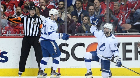 <p>               Tampa Bay Lightning right wing Nikita Kucherov, right, of Russia, celebrates his goal with center Brayden Point (21) during the second period of an NHL hockey game against the Washington Capitals, Wednesday, March 20, 2019, in Washington. (AP Photo/Nick Wass)             </p>