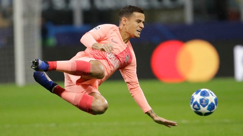 <p>               FILE - In this file photo dated Tuesday, Nov. 6, 2018, Barcelona's Philippe Coutinho controls the ball during the Champions League group B soccer match against Inter Milan at the San Siro stadium in Milan, Italy.  More than a year after arriving as one of Barcelona's most expensive signings, Brazilian midfielder Philippe Coutinho is still struggling to play up to expectations. (AP Photo/Luca Bruno, FILE)             </p>