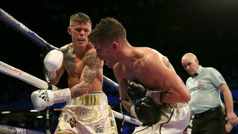 <p>               Charlie Edwards, left, fights against Angel Moreno in their World Boxing Council World Flyweight Title bout at the Copper Box Arena, London. (Paul Harding/PA via AP)             </p>