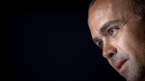 <p>               Venezuela's national soccer team coach Rafael Dudamel attends a press conference in Madrid, Spain, Thursday, March 21, 2019. Venezuela will play a friendly soccer match against Argentina on Friday. (AP Photo/Bernat Armangue)             </p>