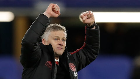 <p>               FILE - In this Monday, Feb. 18, 2019 file photo, Manchester United caretaker head coach Ole Gunnar Solskjaer applauds fans at the end of the English FA Cup fifth round soccer match between Chelsea and Manchester United at Stamford Bridge stadium in London. Manchester United on Thursday March 28, 2019, made coach Ole Gunnar Solskjaer a permanent hire, with a three-year contract. (AP Photo/Matt Dunham, File)             </p>