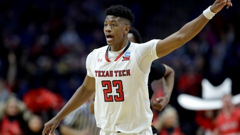 <p>               Texas Tech's Jarrett Culver celebrates after a basket during the second half of a first round men's college basketball game against Northern Kentucky in the NCAA Tournament Friday, March 22, 2019, in Tulsa, Okla. Texas Tech won 72-57. (AP Photo/Charlie Riedel)             </p>