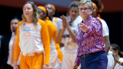 <p>               FILE - In this Jan. 10, 2019, file photo, Tennessee head coach Holly Warlick directs players on the court during an NCAA basketball game against Kentucky in Knoxville, Tenn. Tennessee was able to breathe a sigh of relief after receiving one of the last two at-large spots in this year's women's NCAA Tournament and remain the only women's basketball program to play in every tourney in the event's 38-year history. (AP Photo/Bryan Woolston,F ile)             </p>