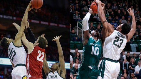 <p>               FILE - At left, in a Feb. 12, 2019, file photo, Michigan States's Kenny Goins (25) blocks a shot by Wisconsin's Ethan Happ (22) as Michigan State's Xavier Tillman (23) looks on during the second half of an NCAA college basketball game in Madison, Wis. At right, in a Dec. 16, 2018, file photo, Michigan States's Xavier Tillman, right, blocks a shot by Green Bay's ShanQuan Hemphill (10) during the first half of an NCAA college basketball game, in East Lansing, Mich. Michigan State and Michigan reached the Sweet 16 on the strength of their defense, so the two rivals have that in common, at least. But the Spartans and Wolverines have slightly different ways of shutting down opponents. (AP Photo/File)             </p>