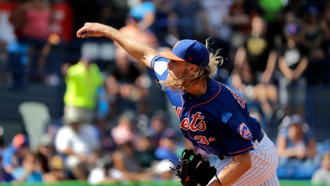 <p>               New York Mets starting pitcher Noah Syndergaard throws during the first inning of an exhibition spring training baseball game against the Houston Astros, Saturday, March 2, 2019, in Port St. Lucie, Fla. (AP Photo/Jeff Roberson)             </p>