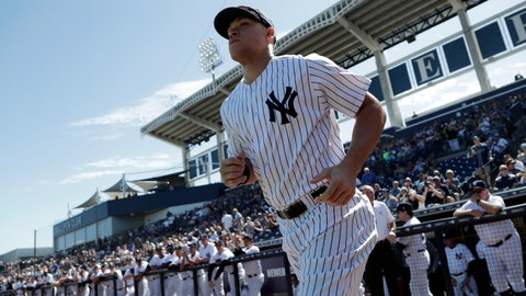 <p>               New York Yankees' Aaron Judge runs onto the field before a spring training baseball game against the Toronto Blue Jays, Monday, Feb. 25, 2019, in Tampa, Fla. (AP Photo/Lynne Sladky)             </p>
