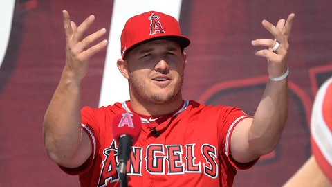 <p>               Los Angeles Angels center fielder Mike Trout gestures during a news conference to talk about Trout's 12-year, $426.5 million contract, prior to the team's exhibition baseball game against the Los Angeles Dodgers on Sunday, March 24, 2019, in Anaheim, Calif. (AP Photo/Mark J. Terrill)             </p>