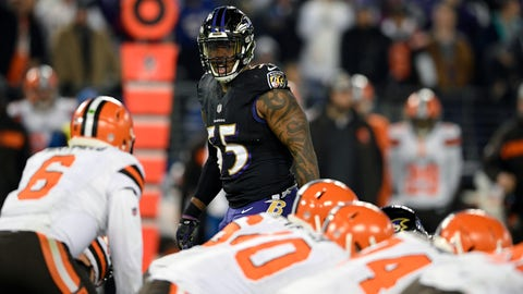 <p>               FILE - In this Sunday, Dec. 30, 2018 file photo,Baltimore Ravens outside linebacker Terrell Suggs (55) looks across the line of scrimmage in the second half of an NFL football game against the Cleveland Browns in Baltimore. Defense is the area with the most depth in this year's free agency class, Monday, March 11, 2019. (AP Photo/Nick Wass, File)             </p>