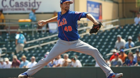 <p>               FILE - In this March 12, 2019, file photo, New York Mets pitcher Jacob deGrom (48) pitches during the first inning of a spring training baseball game against the Miami Marlins, in Jupiter, Fla. deGrom is expected to start Opening Day against the Washington Nationals. (David Santiago/Miami Herald via AP, File)             </p>