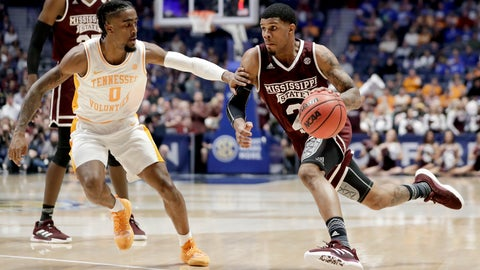 <p>               Mississippi State guard Lamar Peters (2) drives against Tennessee guard Jordan Bone (0) in the first half of an NCAA college basketball game at the Southeastern Conference tournament Friday, March 15, 2019, in Nashville, Tenn. (AP Photo/Mark Humphrey)             </p>