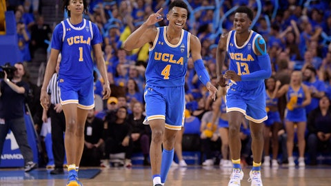 <p>               FILE - In this Feb. 28, 2019, file photo, UCLA guard Jaylen Hands, center, celebrates after hitting a 3-point shot as center Moses Brown, left, and guard Kris Wilkes follow during the second half of the teams' NCAA college basketball game against Southern California in Los Angeles. UCLA won 93-88 in overtime. . The Bruins' sophomore guard has been one of the conference's best players all season and was named player of the week after finishing with 21 points and 10 assists in UCLA's win over rival USC. (AP Photo/Mark J. Terrill, File)             </p>