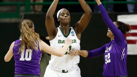 <p>               Abilene Christian guard Breanna Wright (10) and Makayla Mabry (32) defend as Baylor center Kalani Brown (21) prepares to make a pass in the first half of a first-round game in the NCAA women's college basketball tournament in Waco, Texas, Saturday March 23, 2019. (AP Photo/Tony Gutierrez)             </p>