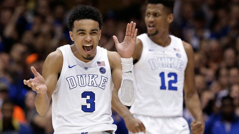 <p>               Duke's Tre Jones (3) and Javin DeLaurier (12) react following a play against Wake Forest during the second half of an NCAA college basketball game in Durham, N.C., Tuesday, March 5, 2019. Duke won 71-70. (AP Photo/Gerry Broome)             </p>