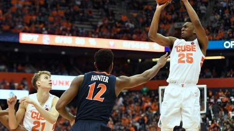 <p>               Syracuse guard Tyus Battle, right, shoots while defended by Virginia guard De'Andre Hunter during the second half of an NCAA college basketball game in Syracuse, N.Y., Monday, March 4, 2019. (AP Photo/Adrian Kraus)             </p>
