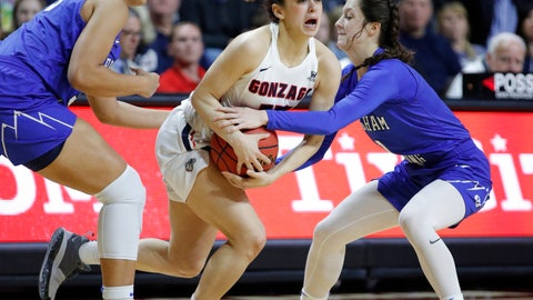 <p>               BYU's Jasmine Moody, left, and Brenna Chase, right, guard Gonzaga's Jessie Loera during the second half of an NCAA college basketball game for the West Coast Conference women's tournament title Tuesday, March 12, 2019, in Las Vegas. (AP Photo/John Locher)             </p>