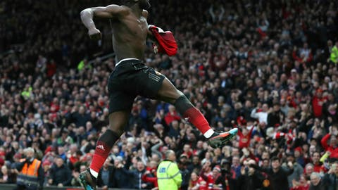 <p>               Manchester United's Romelu Lukaku celebrates scoring his side's third goal of the game,  during the English Premier League soccer match between Manchester United and Southampton at Old Trafford, in Manchester, England, Saturday, March 2, 2019. (Martin Rickett/PA via AP)             </p>