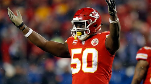 <p>               FILE - In this Jan. 12, 2019, file photo, Kansas City Chiefs linebacker Justin Houston (50) celebrates during the second half of an NFL divisional football playoff game against the Indianapolis Colts in Kansas City, Mo. The Indianapolis Colts have signed free agent defensive end Justin Houston. Terms of the deal were not immediately available. (AP Photo/Charlie Neibergall, File)             </p>